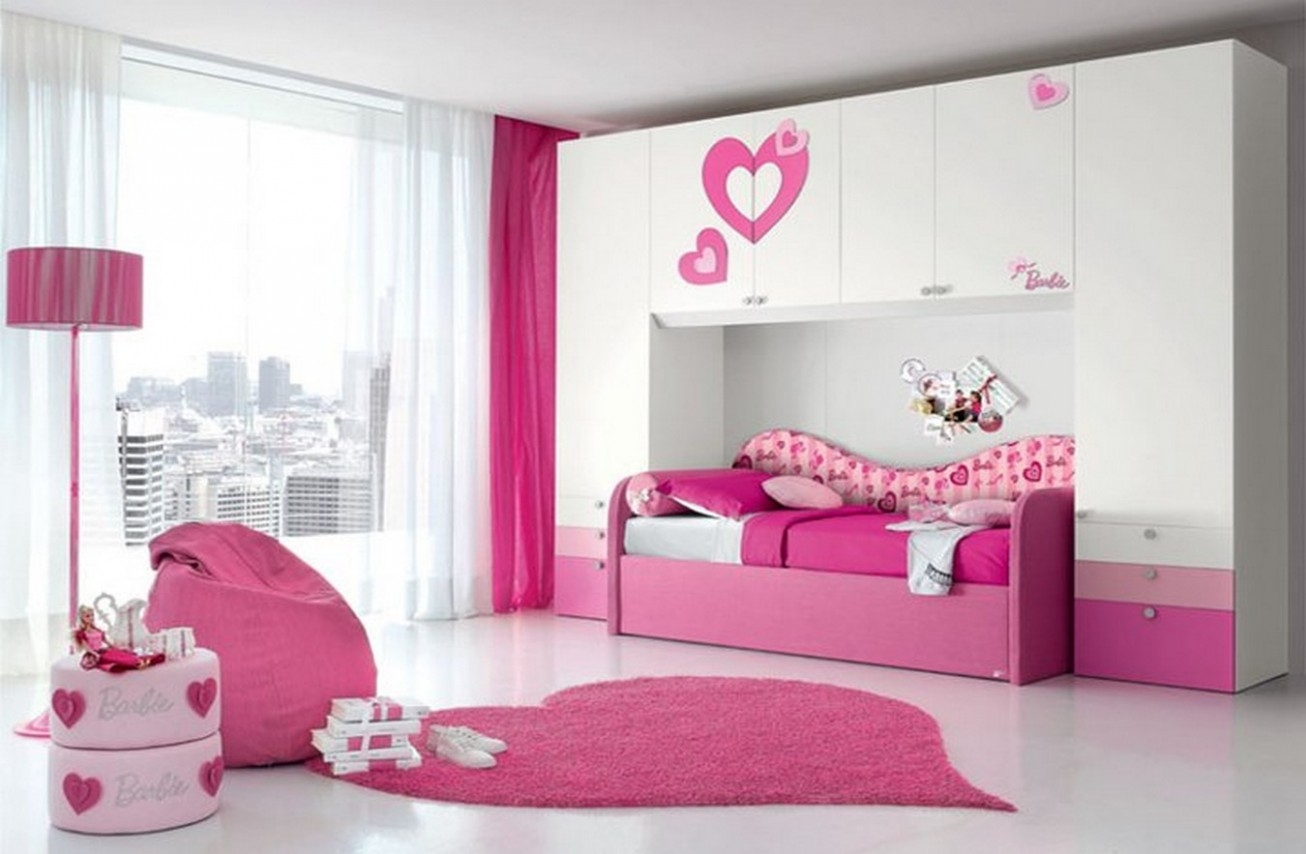 Teenage Girl Bedroom Design Ideas Pink White Color Barbie Themed ...