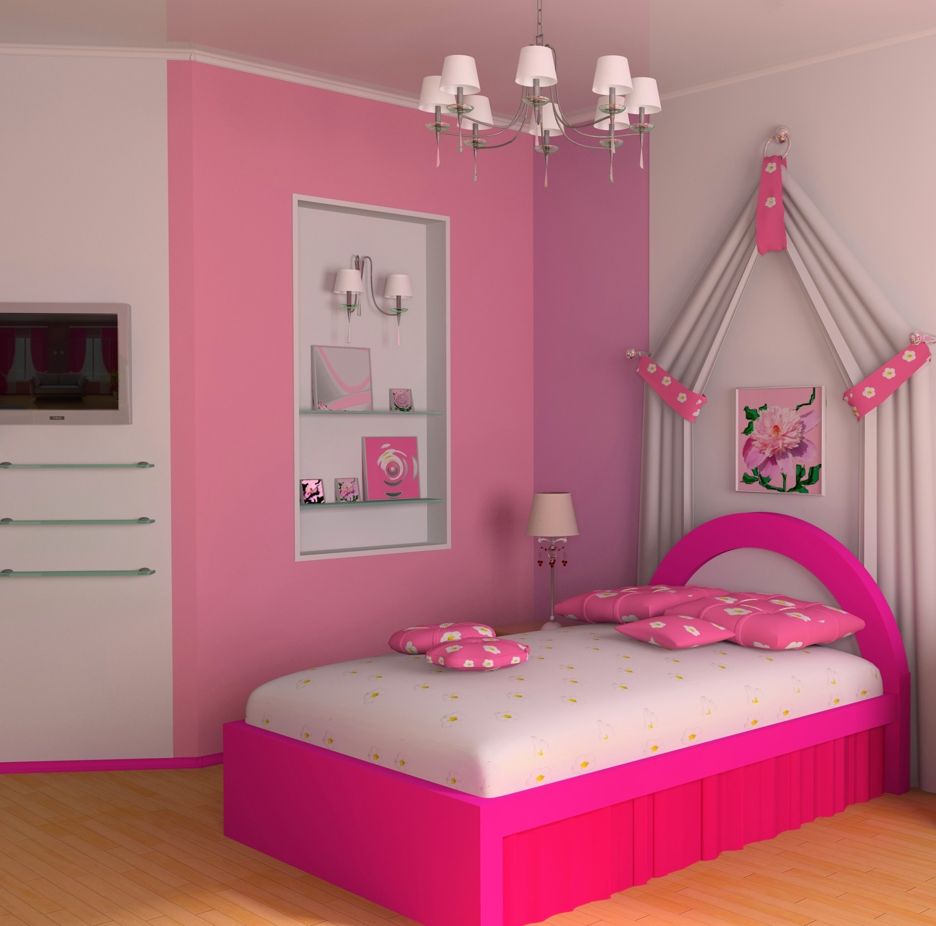 Simple Pikn Barbie Themed Teen Girl Bedroom Design